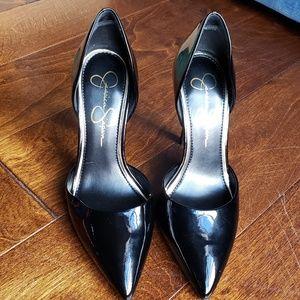 Black Patent Leather Jessica Simpson D'Orsay Pumps